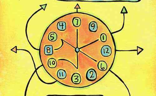 """image of a cartoon clock with many hands pointing in different directions with the words """"make time for yourself, you are important"""""""