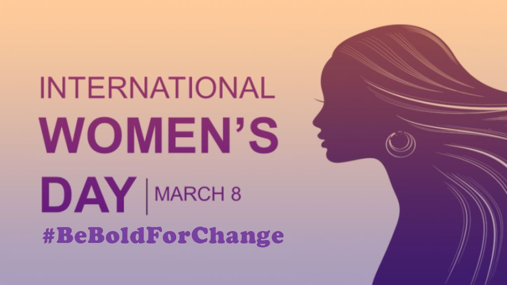 "image of a woman with flowing hair in gradient purple with the words ""international women's day"" ""march 8"" ""#beboldforchange"