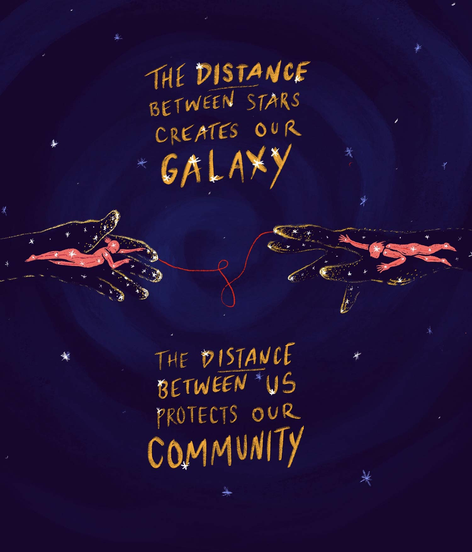 "painting of space with the outline of two hands reaching toward each other and that are linked with a red thread. The hands have images of people also reaching out. The caption says ""the distance between stars creates our galaxy. The distance between us protects our community."